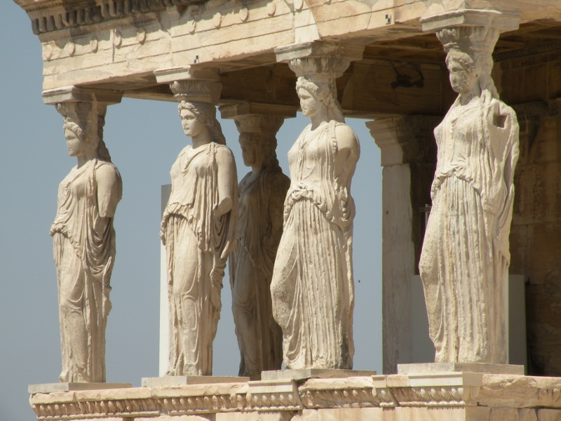 The Caryatids of the Erechtheion on the Acropolis in Athens